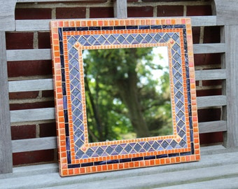 Mosaic Wall Mirror - Orange and Purple
