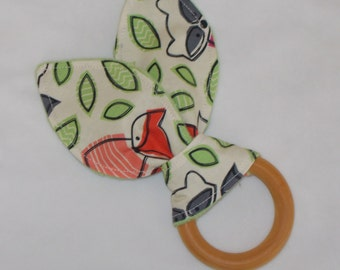 Enchanted Forest Rabbit Ears Wooden Teething Ring - SALE