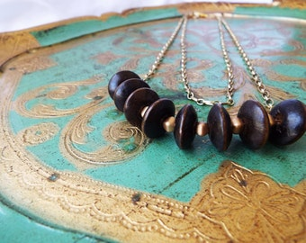 Double Chain Dark Wood Bead Necklace