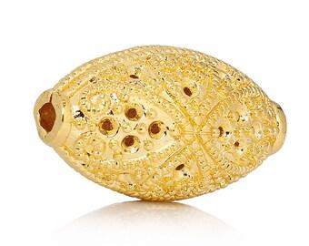 x 1 bead 17 mm filigree oval gold tone.