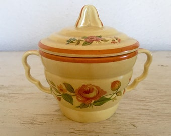 sugar bowl sebring pottery co. patent no. 93999 - yellow and orange bowl with pink rose pattern - shabby cottage chic