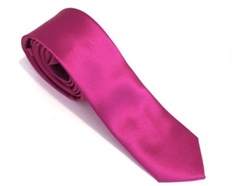 Mens Ties Fuchsia Pink Skinny Silk Necktie With *FREE* Matching Pocket Square Set