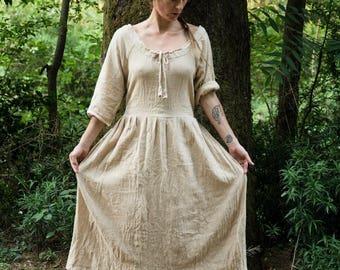 "khadi  organic cotton long  boho dress ""flow"""