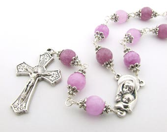 Catholic Rosary Beads - Pink Gemstone Unbreakable Wire Wrapped One Decade Rosary Tenner - Single Decade Rosary - Catholic Gift