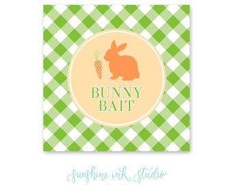 "Easter Bunny ""Bunny Bait"" Printable Easter Party Favor Tags PDF INSTANT DOWNLOAD"