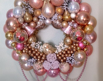 Pastel, spring, Easter, shabby chic ornament wreath.  GORGEOUS pinks, peaches, floral, gold