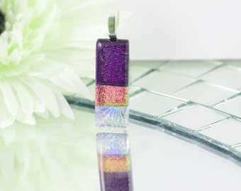 Fused Glass Pendant - Elegant Dichroic Glass Necklace - Cerise, Purple Bar Pendant - Dichroic Jewelry - Fused Glass Jewelry JBT563