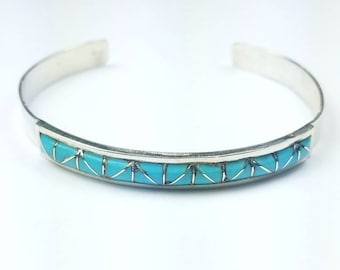 Native American Zuni handmade Sterling Silver inlay Turquoise stone cuff bracelet
