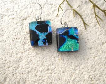 OOAK Black Blue Dangle Earrings,  Dichroic Earrings, Fused Glass Jewelry,  Handmade  Dichroic Jewelry, Sterling Earrings, 030418e100