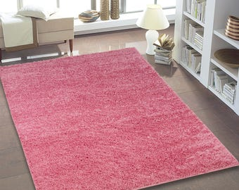 SHAGGY Pink Solid Contemporary Area Rug