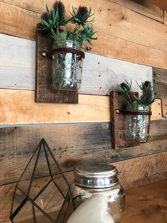 Ball Jar Wall Planter by Etsy