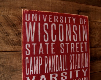 University of Wisconsin Badgers Distressed Wood Sign--Great Father's Day Gift!