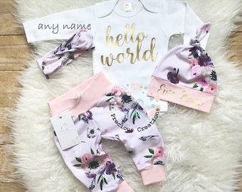 Hello World Coming Home Outfit Newborn Girl Outfit Personalized Baby Girl Outfit Purple Floral Outfit  Baby Shower Gift Any Name