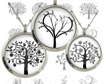Life Tree leaf  Digital Collage Sheet  1inch/1.25inch/1.5inch  size Circle Images Printable Download for pendants bottlecaps magnets