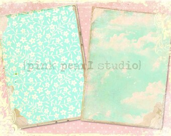 """Blue Skies Grungy Background Digital Prints in 2 - 5x7"""" Format Altered Art, ATC, Scrapbooking"""