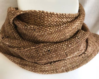 Handwoven Scarf | Golden Brown Donegal Tweed Scarf | Woven Tweed Scarf | Brown Scarf | One Of A Kind | Gift For Him | Christmas Gift | Gift