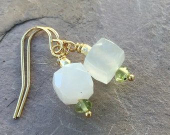 Moonstone Earrings with Peridot and Gold Vermeil , 1 inch long