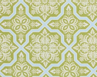 CLEARANCE Tile Flourish in Green Fabric Joel Dewberry Heirloom Quilters Cotton Green Blue 1/2 Yard