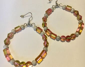 Peachy Green and Silver Bead Hoops