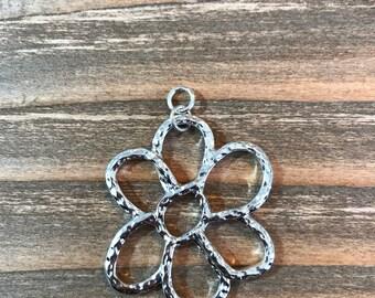 Flower Focal Pendant/Shiny Silver Pendant/Hammered Metal Focal Pendant/jewelry Pendant/Focal Pendant SALE