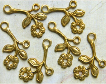 12 pcs. Raw Brass Flower Leaf  Stamping Left Facing Drop 12mm x 22mm - (r146)