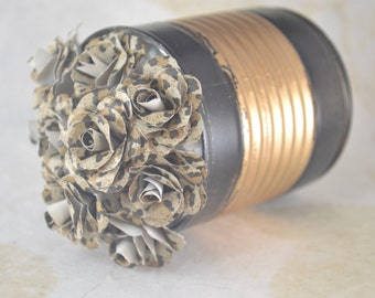 Small Upcycled PAPER FLOWERS Arrangement - Forever Flowers -Upcycled Painted Can - Wallpaper Flowers