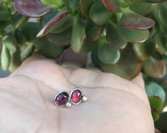Garnet studs, stud earrings, Garnet post earrings, Garnet and sterling silver earrings