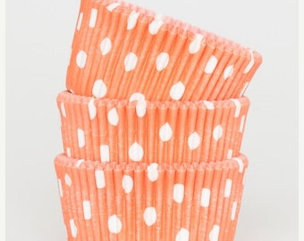 Mothers Day Sale 50 Pc Pretty Orange Polka Dot Cupcake Liners 2X1.25 Inch Size Perfect for Parties