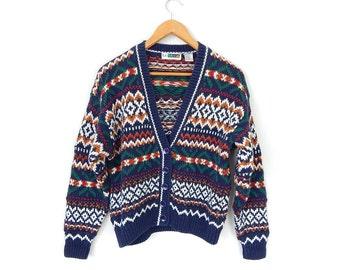 Vintage 90s Fair Isle Women's Cardigan Sweater - Size Medium - Oversized Navy Blue Green White Button Up Knit Cardigan