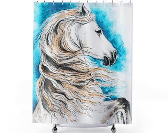Andalusian Horse Inky Watercolor Art