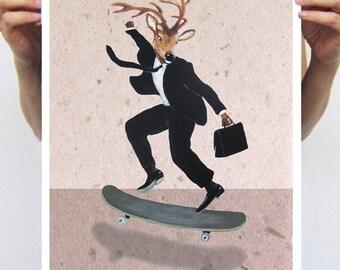 Deer Print,  Antler, Stag, Deer Art, Deer Art Print, Deer Artwork, Wall Decor, Wall Art, Deer Wall Hanging, Black, Gift For Men, Skateboard