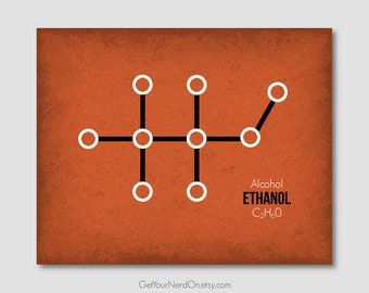 Molecule Poster - Ethanol (Alcohol) - Wall Art Print - Available as 8x10, 11x14 or 16x20