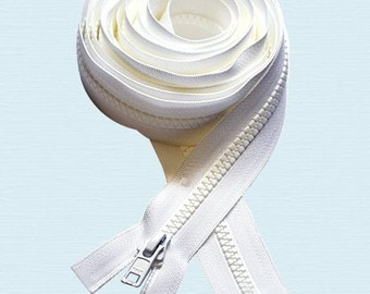 """Long Arm Quilting Machine Zipper  90"""" to 120"""" ~ Pick Length you want!~ YKK #5 Molded Plastic ~ Separating - White or Black"""