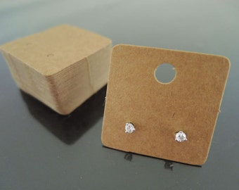 50pcs Kraft Earring Studs Display Cards Jewelry Cardstock Display Card Square Kraft Paper Tags Brown Tag Plain Tags with Hole ( 3cm x 3cm )
