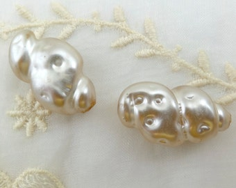 Glass Pearls Beads, Vintage Japan Pearls, Huge Japan Pearl Beads, Jewelry Making Bridal Crafts Unusual Large Bead, Glass Pearl Beads Loose 2