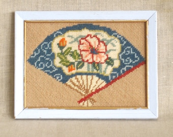 Vintage Needle Point, Asian Fan, Embroidery, Stitch Work, Small, Chinioserie, Flowers, Floral, Wall Decor, Granny Chic, Blue