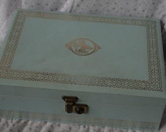 Vintage LIght blue Jewelry Box