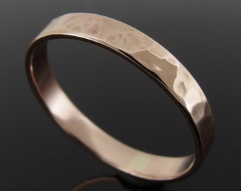 14k Rose Gold Wedding Ring, Hammered Low Profile 14k Gold Ring, Rose Gold Wedding Band, Rose Gold Wedding Ring, 3 x 0.8 mm