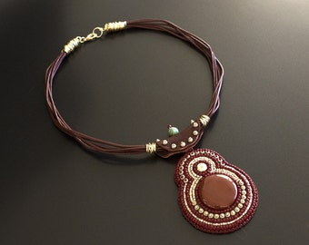 Brown Leather Necklace with Embroidered Carnelian Pendant with Redish Brown, Turquoise, Antique Silver and Gold Beads, Wire Wrapped Ends S59
