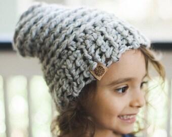 Chunky Crochet Beanie--Gray--Toddler