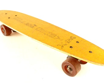 Vintage Roller Derby X24 Skate Board in Yellow, Wood Skateboard (c.1970s) - Collectible, Unique Shelf, Retro Toy Collectible