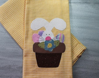Easter Bunny Towel, Kitchen Towel, Applique Towel, Easter Gift