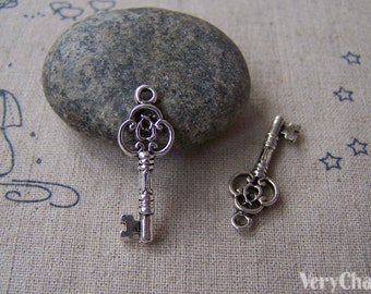 20 pcs of Tibetan Silver Antique Silver Skeleton Key Charms 10x30mm A1311