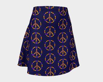 Rainbow Peace Sign Flare Skirt