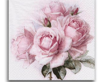 3 Decoupage Napkins Serviette, Craft Paper Napkins, Bouquet of Roses, 33x33cm, 13Inch, Used for Collage, Scrapbooking, Mixed, Decoupage