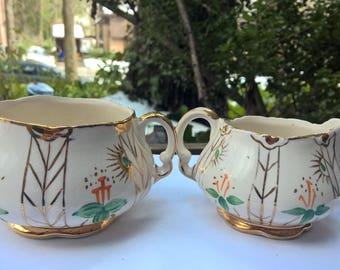 Tea and Creamer Set English China Hand Painted Ellgreave Wood & Son