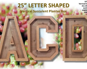 Vertical Succulent Cedar Planter Box Alphabet Letter Shaped Large Living Wall Hanging Art Herb Cactus Fun Unique All Natural Gardening Gifts