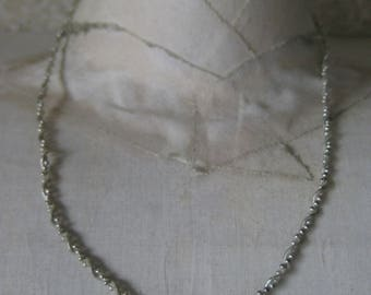Chain Twist Bead Sterling Necklace Vintage 925 Silver
