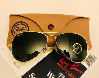 New old stock Vintage Aviator Ray Ban sunglasses Green G15  58mm Bausch & Lomb usa original W/  Case