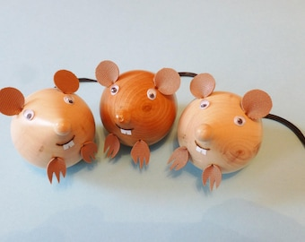 Wooden rats, lathe turned rats